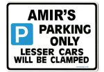 AMIR'S Personalised Gift |Unique Present for Him | Parking Sign - Size Large - Metal faced